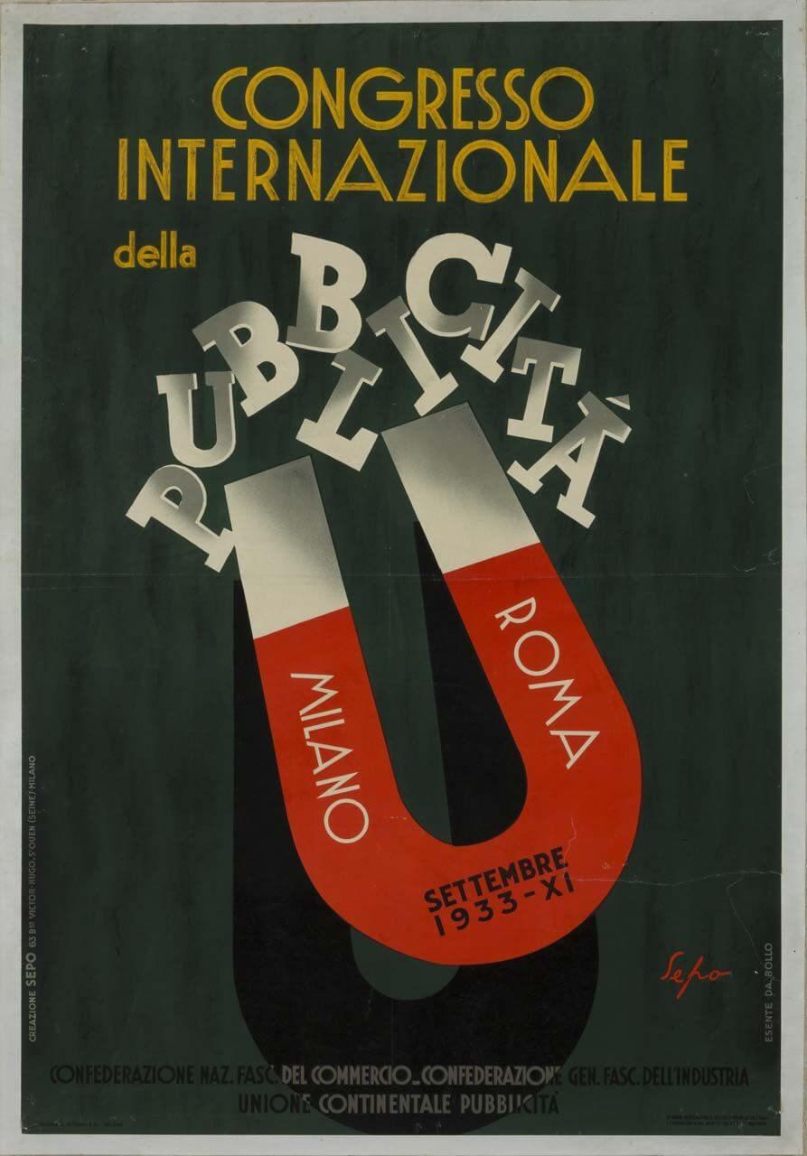 grafica pubblicitaria fascista del congresso internazionale del fascismo