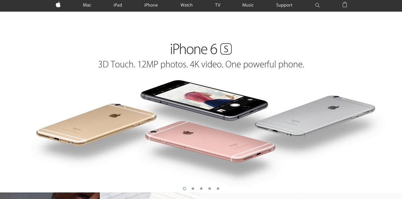 design minimale landing page della Apple