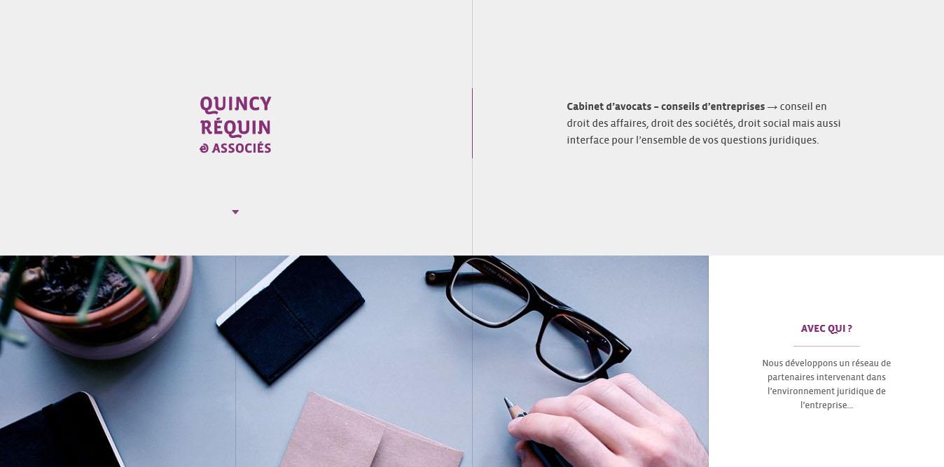 design minimale landing page del sito quincy requin avocats