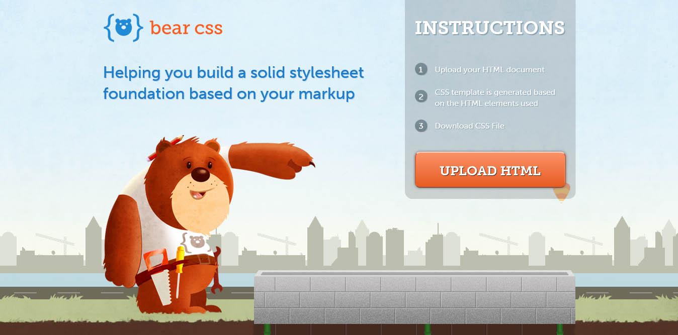 esempio di landing page con illustrazioni per il sito bear css