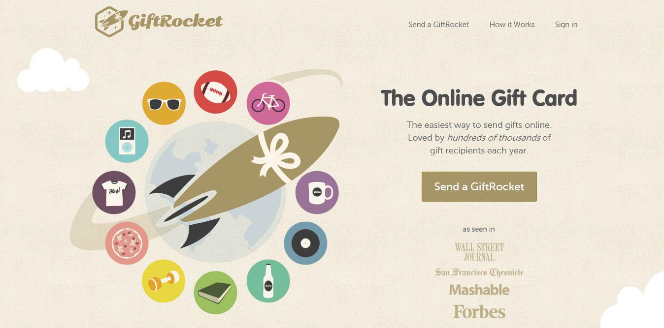 illustrazioni grafiche della landing page del sito gifrocket