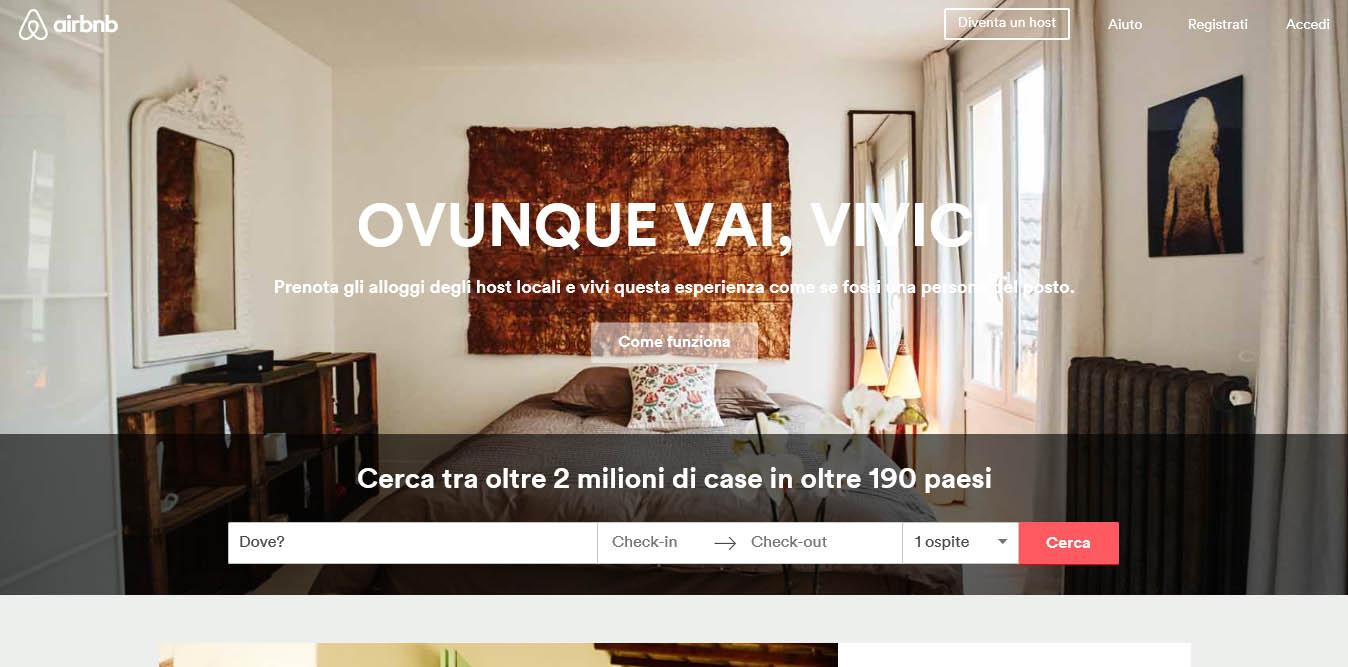 landing page del sito airbnb
