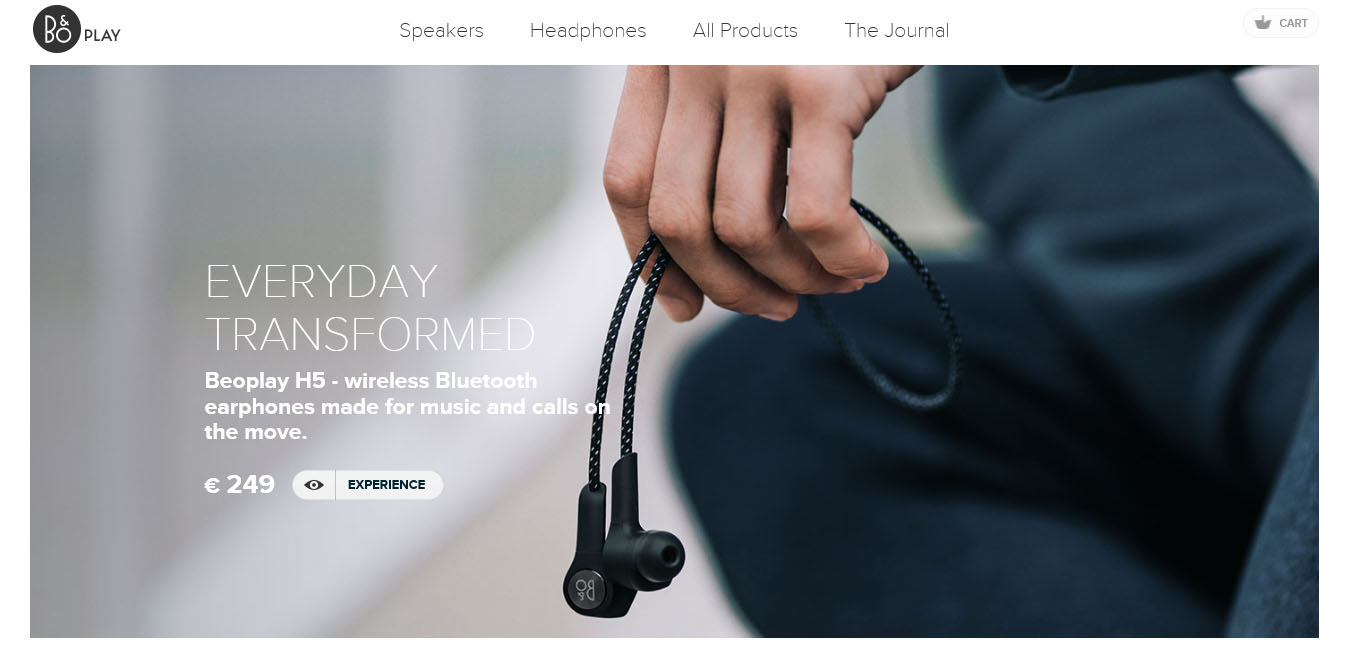 landing page del sito beoplay con video