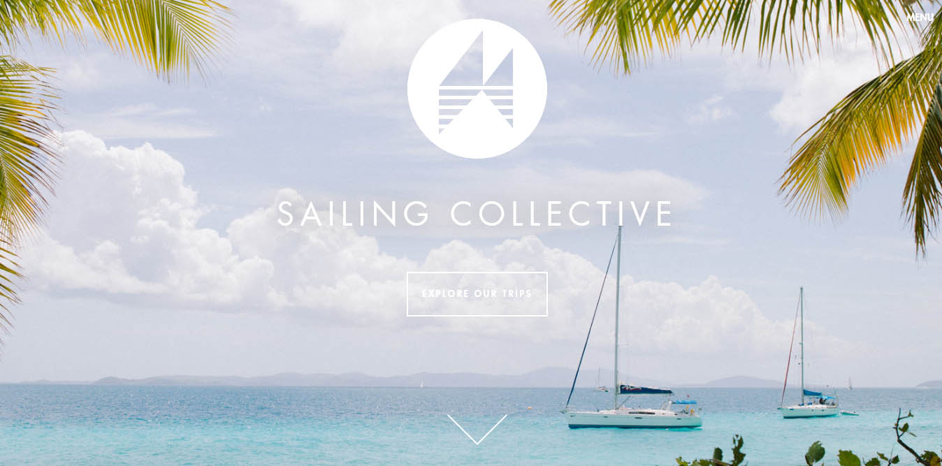 landing page del sito sailing collective con video