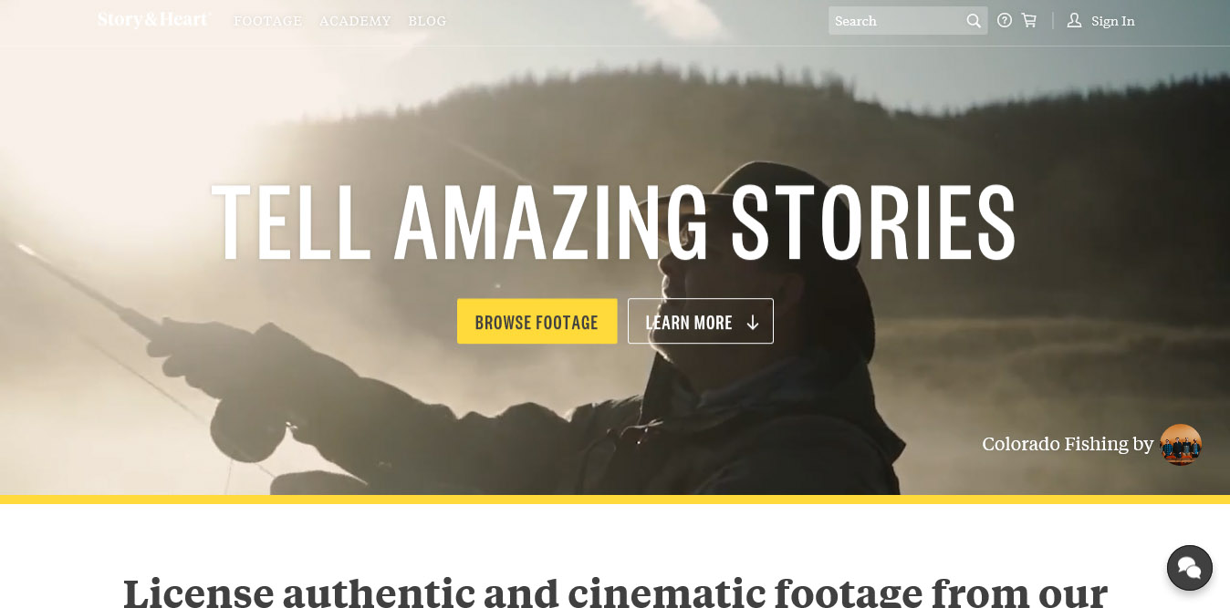 landing page del sito story and heart con video