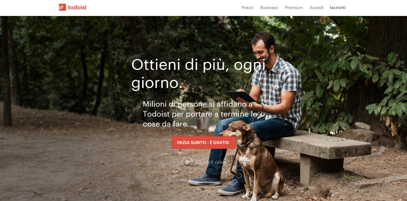 landing page del sito todoist con video