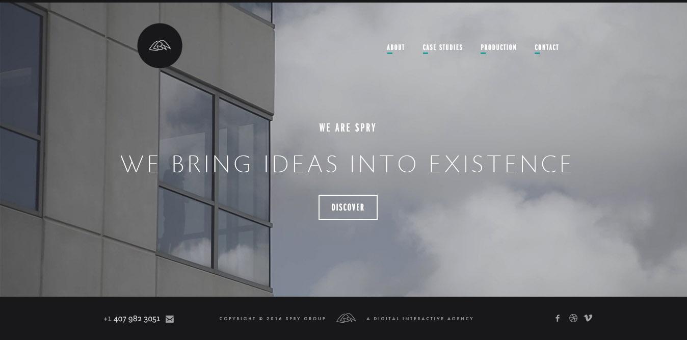 landing page del sito wearespry con video
