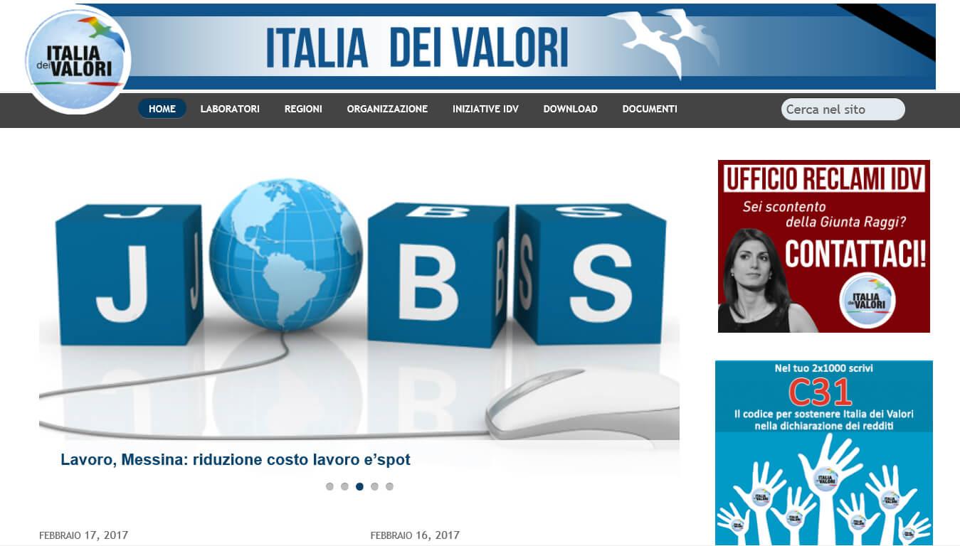sito internet di italia dei valori