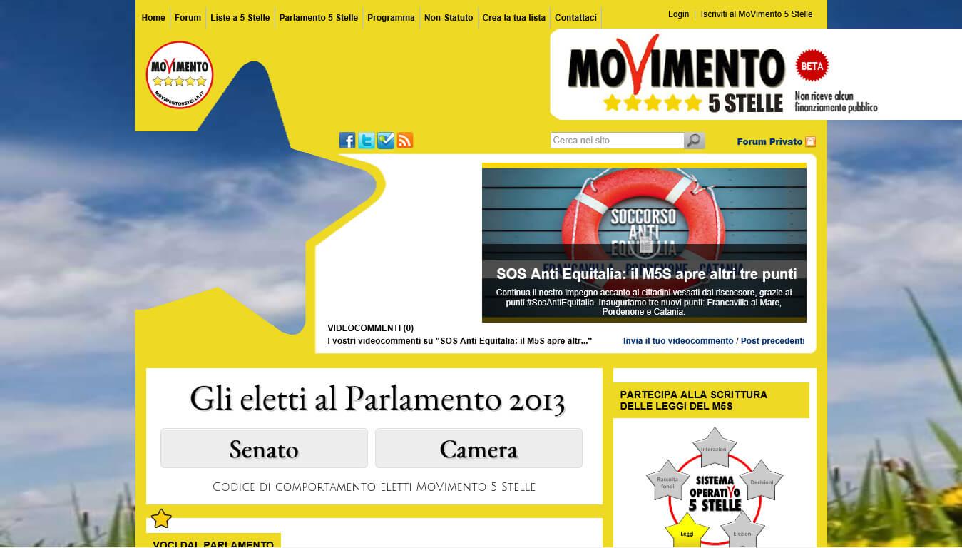 sito web del movimento 5 stelle
