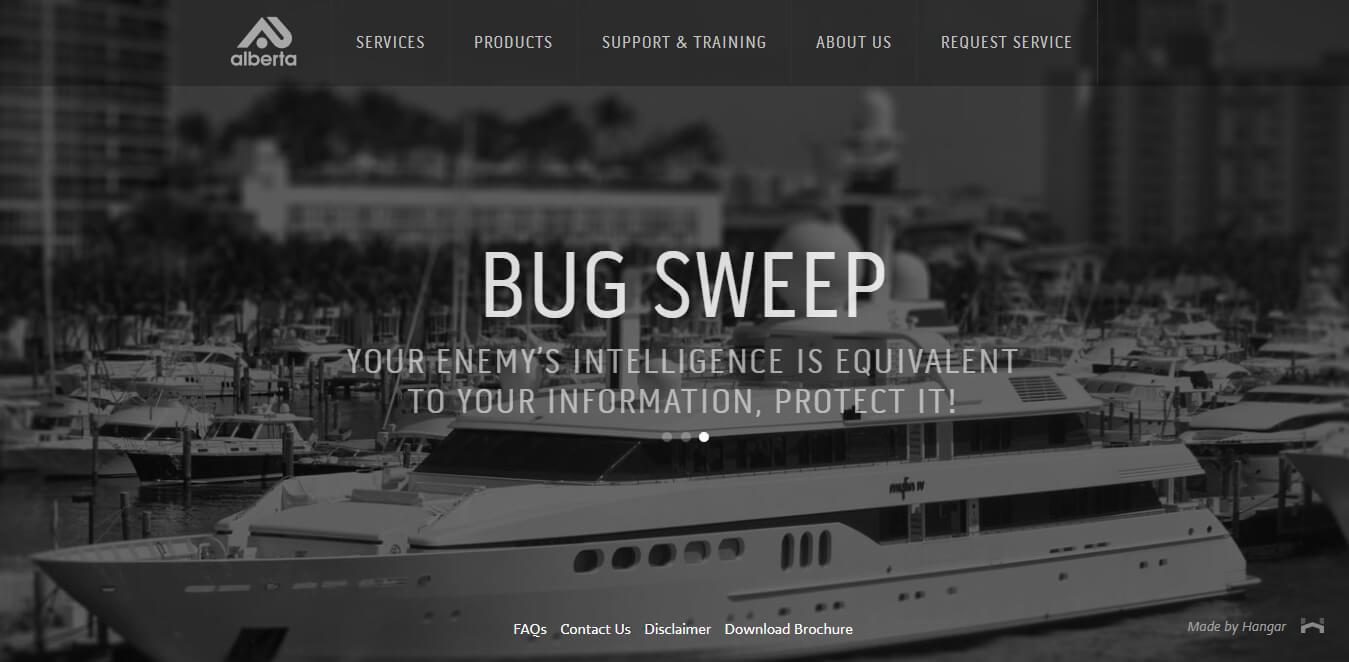 sito web layout nero
