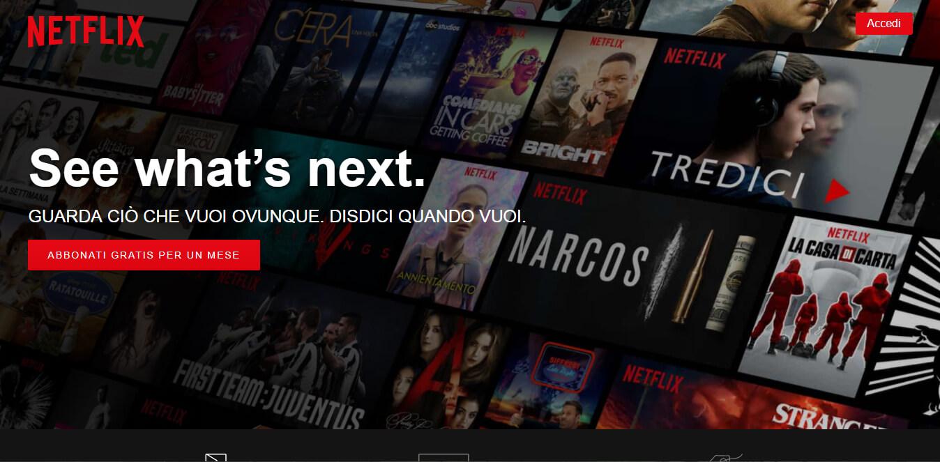 esempio di call to action sito Netflix