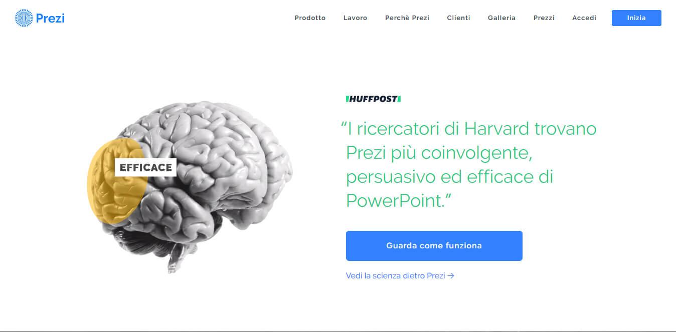 esempio di CTA su sito Prezi
