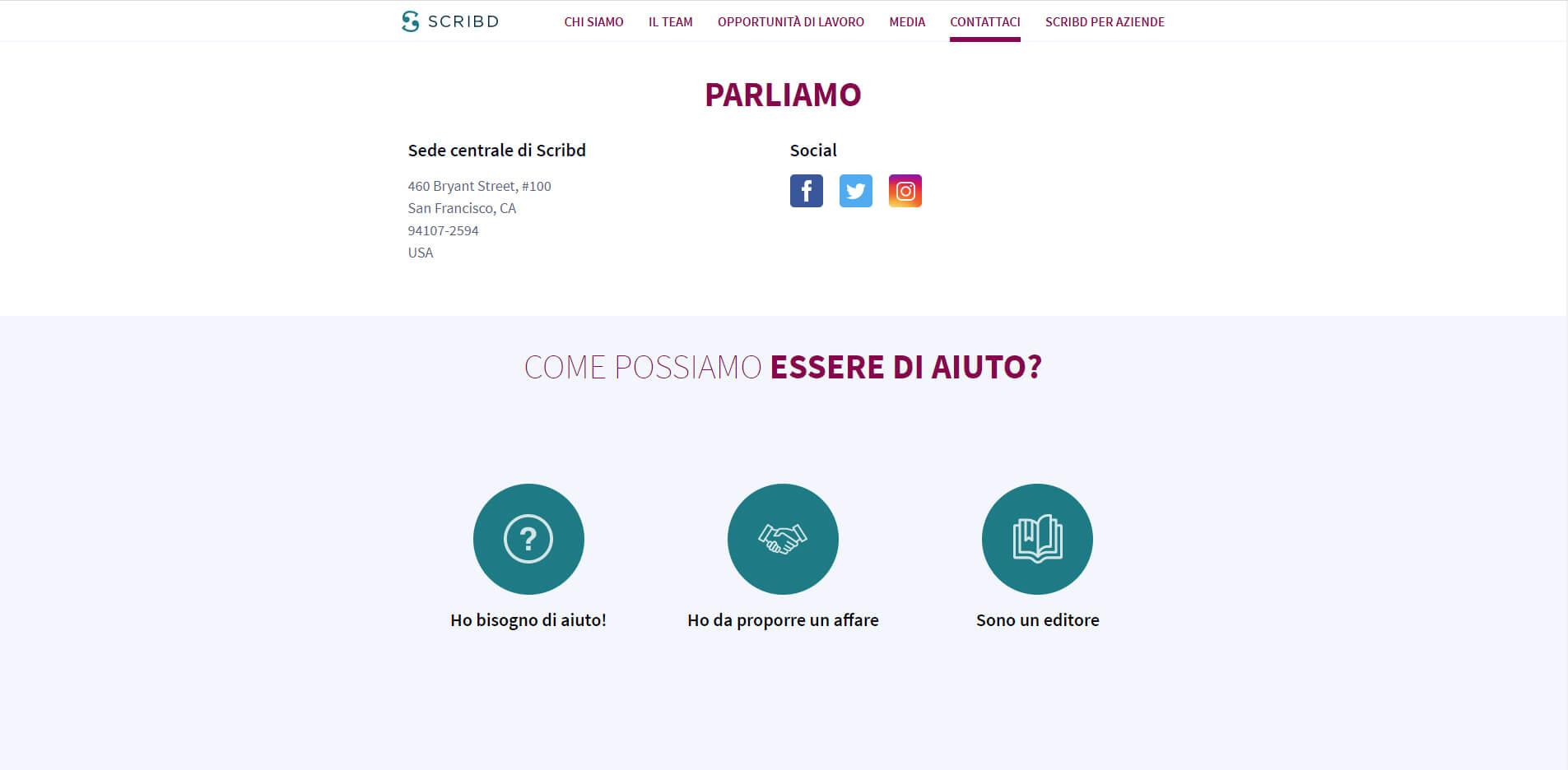 esempio di pagina contatti con informazioni