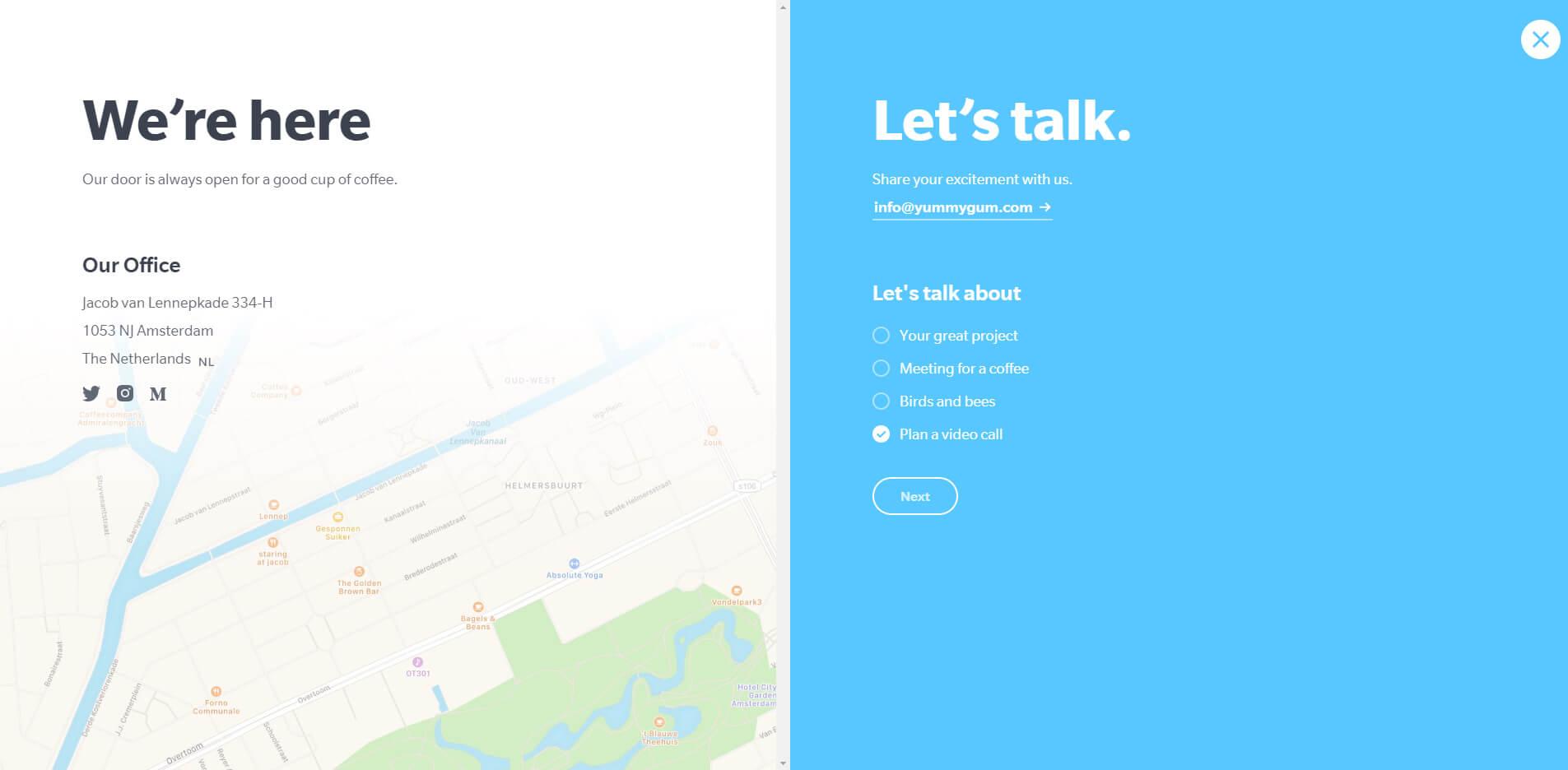 esempio di pagina contatti per una startup